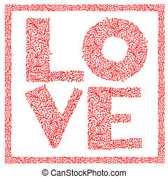 The word Love with floral ornament for your design