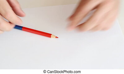 Draw a red circle with a pencil han