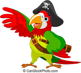 Pirate Parrot - Illustration of talking Pirate Parrot