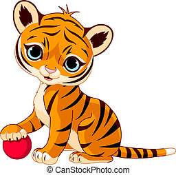 Cute tiger cub - Cute tiger cub playing with red boll