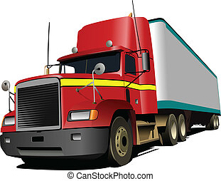 Vector illustration of red truck Lorry
