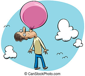 Bubblegum Balloon - A cartoon man floating through the sky...