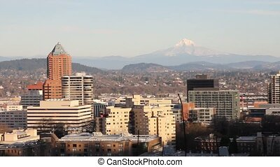 View of Portland Oregon Cityscape - Panoramic View of...
