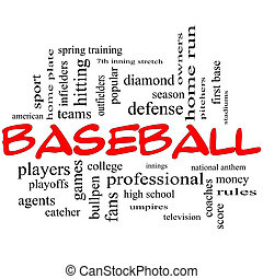 Baseball Word Cloud Concept in Red Caps - Baseball Word...