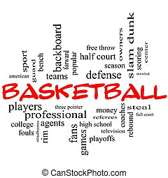 Basketball Word Cloud Concept in red caps with great terms...
