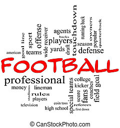 Football Word Cloud Concept in red caps with great terms...