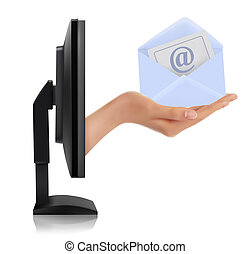 Hand from a monitor screen holding e-mail letter  Vector