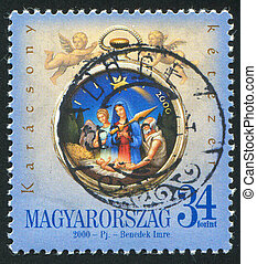 Birth of Chris in Bethlehem - HUNGARY – CIRCA 2000: stamp...