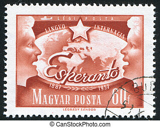 speaking people - HUNGARY – CIRCA 1957: stamp printed by...