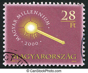 Coronation scepter - HUNGARY – CIRCA 2000: stamp printed by...