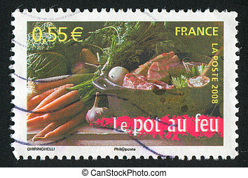 food and saucepan - FRANCE - CIRCA 2008: stamp printed by...
