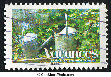 watering fan - FRANCE - CIRCA 2008: stamp printed by France,...