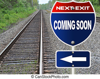 Coming sonn road sign