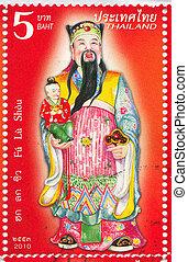 Fu Lu Shou - THAILAND - CIRCA 2010: stamp printed by...