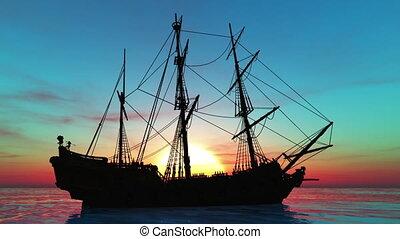 Sailing boat - sailing boat goes on voyage