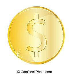 Coin euro on white background