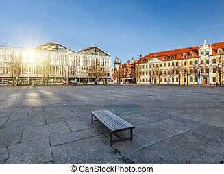Domplatz in Magdeburg, Germany, at sunny day