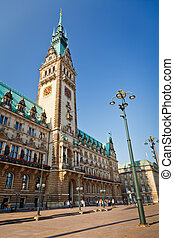 Town Hall in Hamburg, Germany - wide angle image of Town...