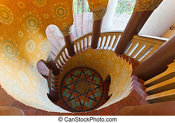 Staircase in Santa Barbara court - Spiral staircase in Santa...