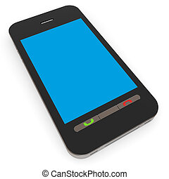 Smartphone with blue screen.