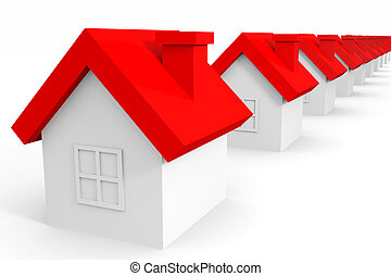 Houses with red roof. Computer generated image.