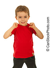 Child boy pointing to his t-shirt - Happy child boy pointing...