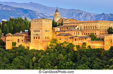 Alhambra palace, Granada, Spain - Alhambra palace at night,...