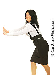 Business woman pushing copy space - Surprised business woman...
