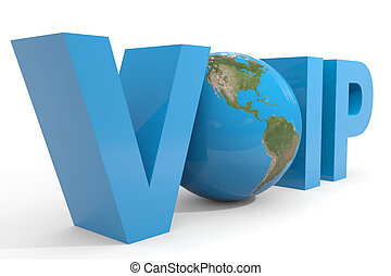 VOIP 3d text. Earth globe replacing O letter. Computer...