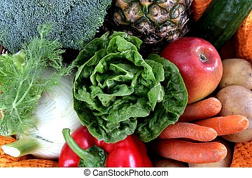 Fruits and Vegetables full frame - Mixed fresh and young...