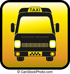 icon of cargo and passenger taxis - glossy icon, sign of...