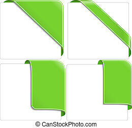 Green corner ribbons, vector eps10 illustration transparent...