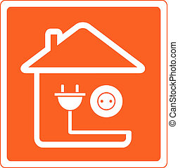 icon with house and socket with plu - red icon with house...