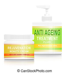 Anti ageing products. - Illustration depicting two anti...