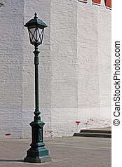 Antique Street Light - Old style street lamp in front of the...