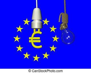 EURO compact fluorescent lamp - 3D illustration of EURO...