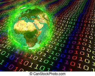 Earth and digital data - Europe - Computer generated 3D...