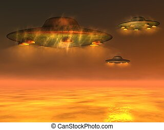 UFO - Unidentified Flying Object - Computer generated 3D...