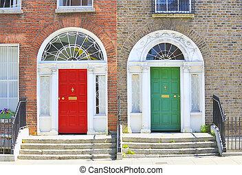 georgiano, puertas, DUBLÍN