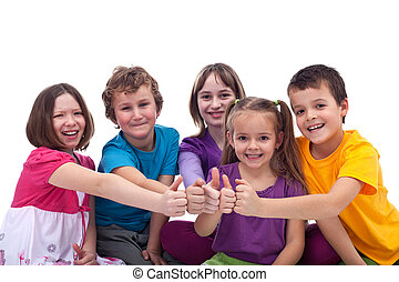 Happy kids working as a team - giving thumbs up sign