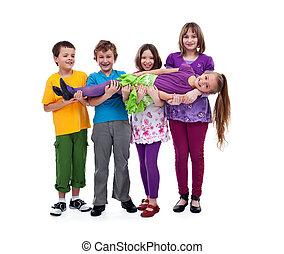 diversión, niños,  -, teniendo, aislado