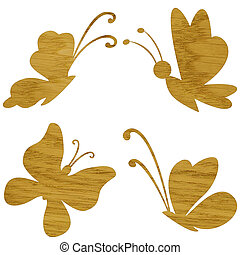Wooden butterfly on white - Marquetry, butterfly of ash wood...