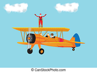 Woman Wing Walking - A Woman in a Red Jumpsuit Wing Walking...