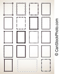 Border Frame Set. Vector - Vector of floral border frame...