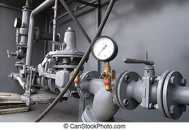 Gas pipes - Big gray pipes with many details and gauges