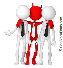 Businesspeople having deal with Devil Risky business concept...