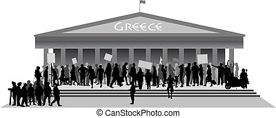 Crisis in Greece - Black and white vector illustration about...