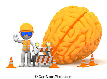 Under construction - 3d builder with big orange brain on...