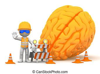 Under construction - 3d builder with big orange brain on...