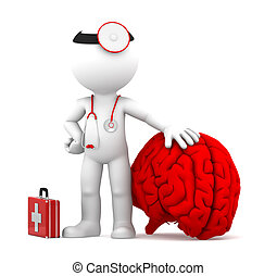 Medic with big red brain. Isolated over white background
